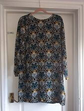 H&M 14 Black Yellow Blue White Floral Art Deco Long Sleeve Black Split Dress
