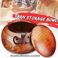 US Natural Bamboo Wool Yarn Knitting Bowl Holder w/ Lid Needles Storage Crochet