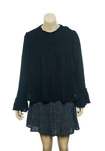 Free People Kelsey Blouse Top XL Women's Casual Long Sleeves Black NEW 16508