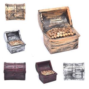 Pirate Treasure Chest Box Gold Coins Fish Tank Aquarium Resin Decoration