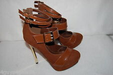 "Womens BROWN STILETTO PLATFORM PUMPS 5.5"" Gold Color High Heels BUCKLE STRAP 8.5"