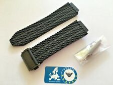 Watch Strap for Hublot Big Bang 44mm 25mm Rubber Black with Black Buckle HB3