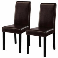 Set of 2 Elegant Design Leather Contemporary Dining Chairs Home Room Brown