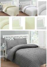 White&Cream Seersucker Polycotton Duvet Quilt cover Bed bedding set, Pillowcases