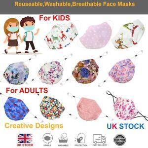 Face Mask Reusable Washable Mouth Cotton Cover ✅ Adults ✅ Kids ✅ Unisex ✅ UK