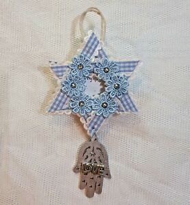 Decoration hanging silver gift Psalms magen david white blue wood Lace beads