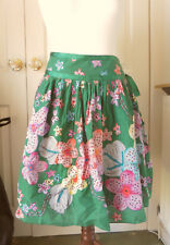 SKIRT green floral flippy GORGEOUS cotton summer size small (aprox UK size 10)