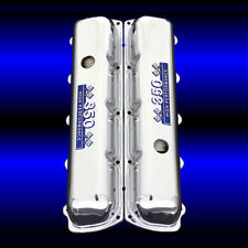 Chrome Valve Covers For Oldsmobile 350 Engines With 350 Emblems Blue and Chrome