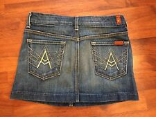 Women's 26 7 For All Mankind Mini Denim Skirt Excellent Condition Distressed Dar