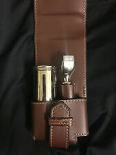 Crabtree & Evelyn Badger Hair Shave Brush Kit Brown Genuine Italian Leather Case