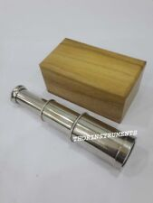 Vintage Brass Maritime Telescopes Nautical Marine With Natural Wooden Box