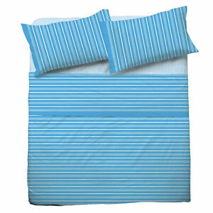 Set Bed Pompea Tidy Sheets Above Under with Corners And Pillowcase Blue