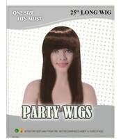 """Ladies 25"""" LONG BROWN WIG Straight Fringe Fancy Dress Cos Play Party Wear NEW"""
