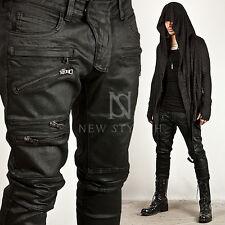 New NS Mens Casual Pants Wear Skinny TRIPLE ZIPPER COATED BLACK SLIM BIKER JEANS