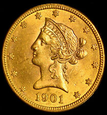 1901 United States $10 Ten Dollar Liberty Head Gold Eagle Coin !!!