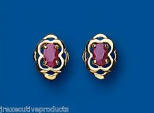 Ruby Studs Ruby Earrings Oval Ruby Stud Yellow Gold Ruby Earrings