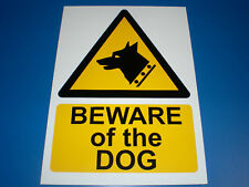 Beware Of The Dog A5 Semi-Rigid Plastic Sign Silk Screen Printed Hazard Security