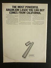 4/1968 PUB HUGHES AIRCRAFT COMPANY ELECTRONICS ARGON ION LASER ORIGINAL AD