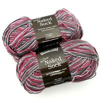 Wisdom Yarns Naked Sock Yarn Wool Free Bright Spot Pink Gray Lot of 2 Skeins