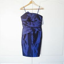 Max And Cleo Blue Satin Tiered Strapless Dress Size 6