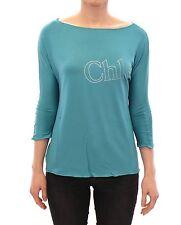 NWT $220 CHLOE Blue 3/4 Sleeve Stretch Crewneck Blouse T-shirt Top IT44/ US10/ L