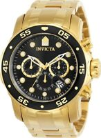 Invicta Men's Watch Pro Diver Chrono Yellow Gold Stainless Steel Bracelet 0072
