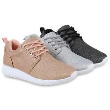 Damen Laufschuhe Glitzer Sportschuhe Profil Sohle Sneaker Schnürer 820836 Schuhe