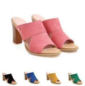 5 Colors Women's Ladies Open Toe Block High Heel Casual Dress Slipper Sandals D