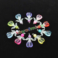 10pcs Angel Charms Pendants Faceted Acrylic Heart Beads Silver Wings Mixed Color