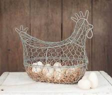 Country new Barn Roof gray wire decor Chicken egg basket / nice
