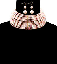 "14"" gold pink pearl bead 2.50"" wide choker collar bib necklace 1.60"" earrings"