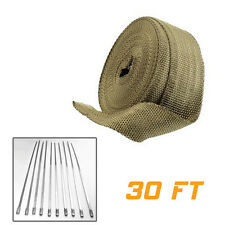 2″ 30Ft Titanium Header Exhaust Motorcycle Car Heat Wrap w/10 Ties Kit