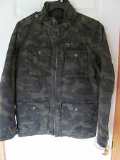 NWT Men's Levi's Green Camo 100% Cotton heavy quilted lining zip up Coat Size S