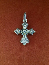 HEAVY BARBARA BIXBY 18K STERLING SILVER WHITE TOPAZ CROSS PENDANT ENHANCER