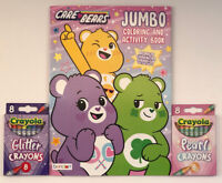 3pc Care Bears Gift Set Jumbo Coloring & Activity Book, Glitter & Pearl Crayons