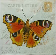 BUTTERFLIES POSTCARD TWO(2) single LUNCH SIZE paper napkins for decoupage 3-ply