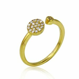 14K YELLOW GOLD OVER 925 STERLING SILVER OPEN RING W/ LAB DIAMONDS / SZ 5 TO 9