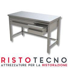 Tavolo inox senza ripiano di fondo, cassettiera in linea Dim.cm. 150x60x85H.