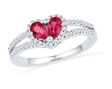 10k White Gold Womens PEAR Lab Ruby Heart Split-shank Ring 3/4 Cttw