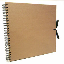 Square Kraft Ribbon Scrapbook, Large Photo Album, Display Book Thick Brown Pages