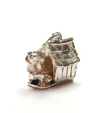 Vintage 925 Sterling Silver XL DOG IN DOGHOUSE KENNEL Charm Pendant 5.9g