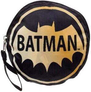 DC Comics Batman Logo Packable Tote Bag - Folds Into It's Own Zip Pouch