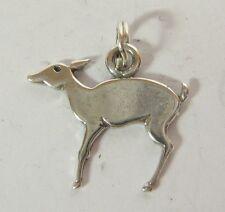 Deer Charm Pendant .925 Sterling Silver USA Made Doe Art Deco Style Miniature