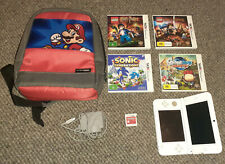 Nintendo 3DS XL White Handheld System with Mario kart 7 preloaded + 5 Games +bag