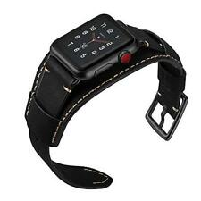 iWatch Band 42mm/44mm Series 4 3 2 1 Genuine Leather Stainless Steel Clasp Black