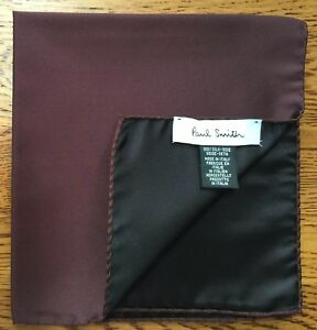 PAUL SMITH 100% SILK REVERSIBLE DAMSON POCKET SQUARE MADE IN ITALY