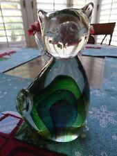 """Art Glass Cat Green & Cobalt Blue Heavy 4 1/2 pds 7 1/2"""" Tall (5)"""