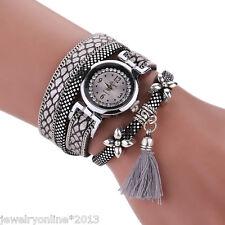 1 Damen Lederarmbanduhr Wickelarmband Armbanduhr Quarzuhr Strass Blume 40cm Gift