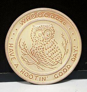 Frankoma Pottery Brown Trivet Tea Tile Prairie Green Owl Have A Hootin' Good Day