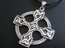Keltischer Knoten 925'er Silber + Echtlederband Ketten Anhänger Kreuz  / KA 298